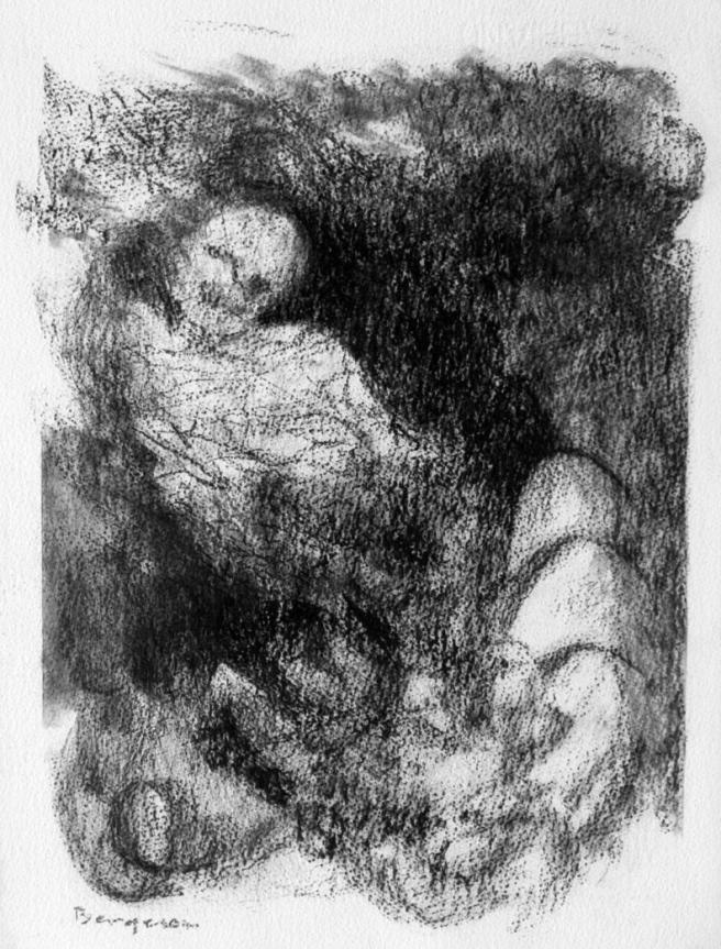 Inquiétante étrangeté II, Fusain sur papier Fabriano, 32 x 23 cm, 2006