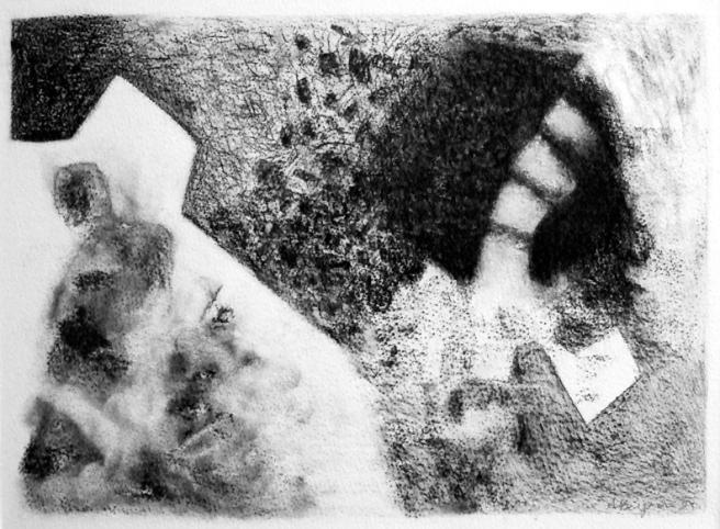 Inquiétante étrangeté IV, Fusain sur papier Fabriano, 23 x 32 cm, 2006