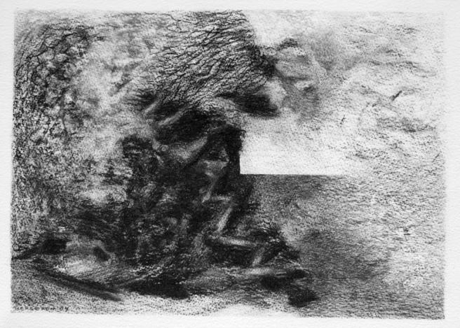 Inquiétante étrangeté VI, Fusain sur papier Fabriano, 23 x 32 cm, 2006. Collection privée, Québec