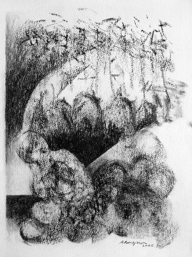 Inquiétante étrangeté III, Fusain sur papier Fabriano, 32 x 23 cm, 2006