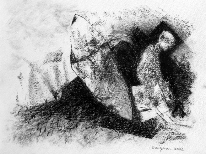 Inquiétante étrangeté I, Fusain sur papier Fabriano, 23 x 32 cm, 2006