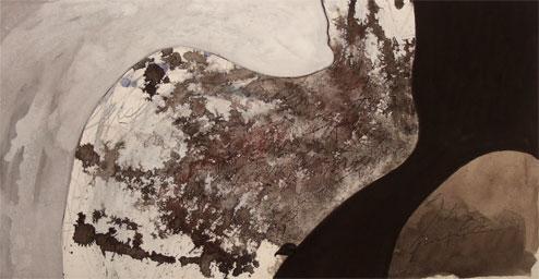 Jeu de lignes 1, Gouache sur carton, 21 x 40 cm, 2009 Collection privée, Québec