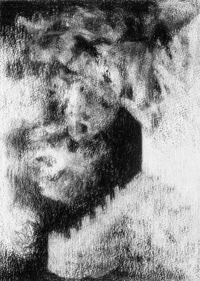 Inquiétante étrangeté VII, Fusain sur papier Fabriano, 32 x 23 cm, 2006. Collection privée, Australie